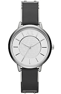 Stainless Steel & Leather Round Watch