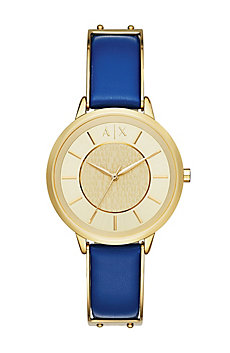 Gold Round Face With Blue Leather Strap