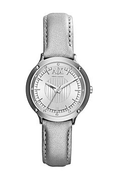 Silver Leather Band Watch