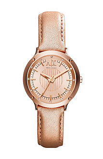 Rose Gold Leather Band Watch