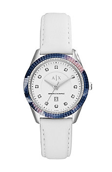 White Leather w/Print Watch