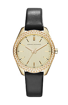 Leather Crystal Sarena Watch