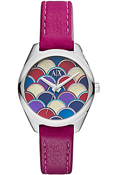 Geo Purple Leather Watch