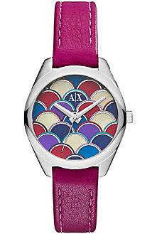 Geo Purple Leather Watch