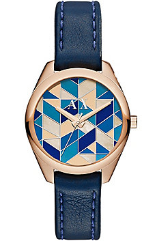 Geo Leather Rose Gold Watch