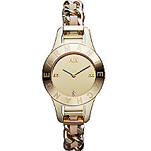 Gold Chain Link Leather Strap Bracelet Watch