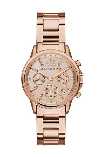 Crystal Rose Goldtone Chronograph Watch