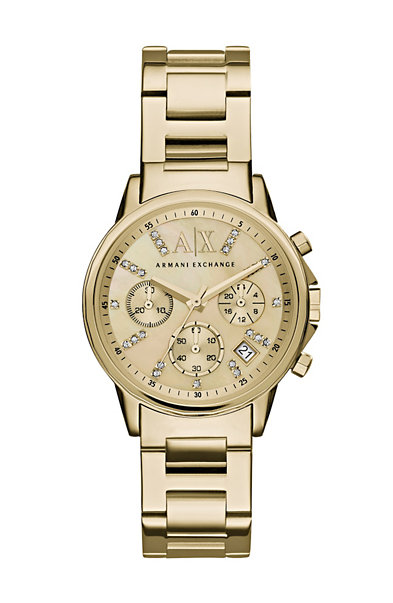 Crystal Yellow Goldtone Chronograph Watch