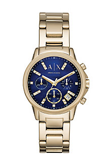 Gold Round Chrono With Navy Face