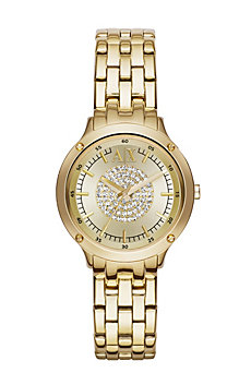 Gold Pave Center Watch