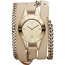 Chain Strap Natural Leather Cuff Watch