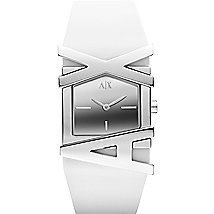 A|X White Rubber Strap Watch
