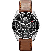 A|X Bezel Brown Leather Strap Watch