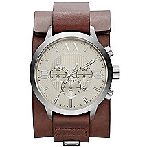 Dark Brown Leather Cuff Watch