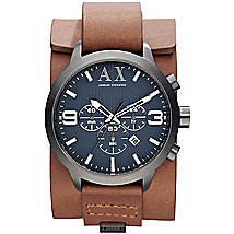 Brown Leather Cuff Watch