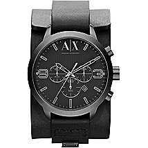 Black Leather Cuff Watch