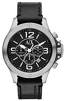 A|X Black Leather Watch