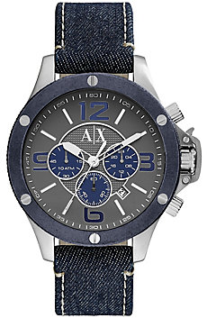 Denim & Stainless Steel Chronograph Watch
