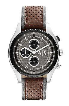 Perforated Brown Leather Watch