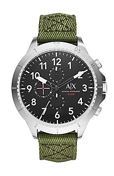 Round Stainless Steel Chrono With Green Woven Strap