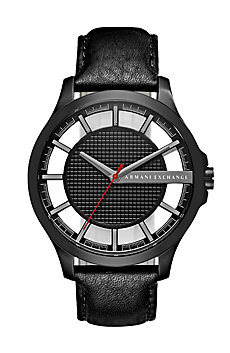 Black Leather Shadow Watch