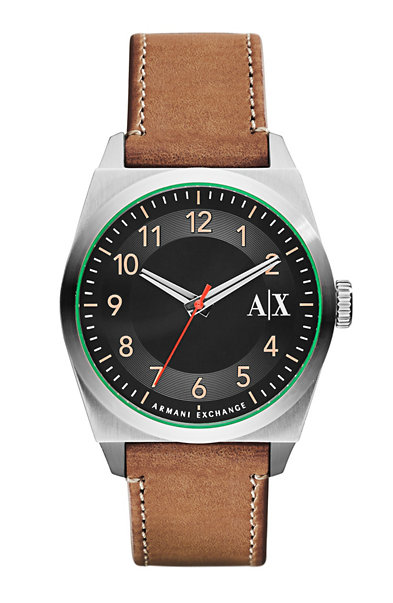 Men's Medium Brown Leather Watch