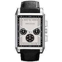 Rectangular Leather Strap Chronograph Watch