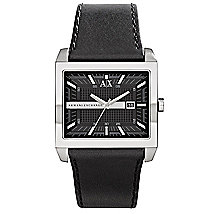 A|X Black Leather Strap Square Watch