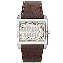 A|X Brown Leather Strap Square Watch