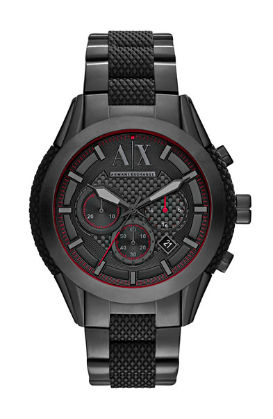 Black Silicone & Steel Watch