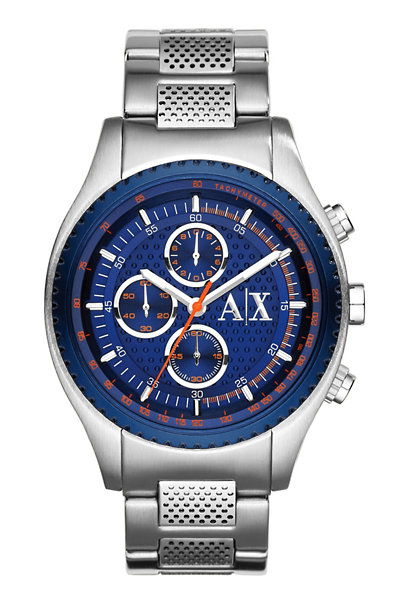 Men's Silver with Blue Face Watch