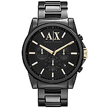A|X Oversized Black Chronograph Bracelet Watch