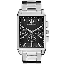 Stainless Steel Rectangular Chronograph Bracelet Watch