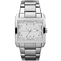 Silver Stainless Steel Rectangular Watch