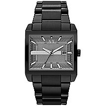 Black Stainless Steel Rectangular Watch
