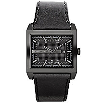 A|X Allover Black Leather Strap Watch