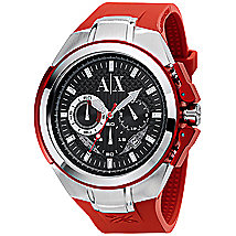 Red Rubber & Stainless Steel Watch