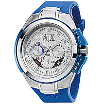 Blue Rubber & Stainless Steel Watch