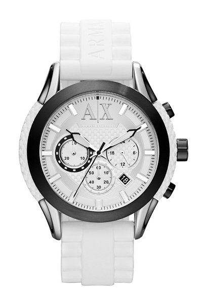 A|X White Silicone Strap Chronograph Watch