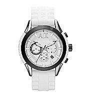 A|X White Silicone Strap Chronograph Watch