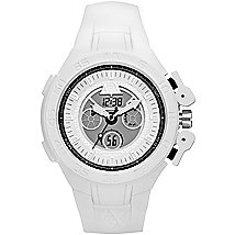 White Silicone Dual Movement Watch