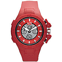 Red Silicone Dual Movement Watch