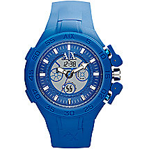 Blue Silicone Dual Movement Watch