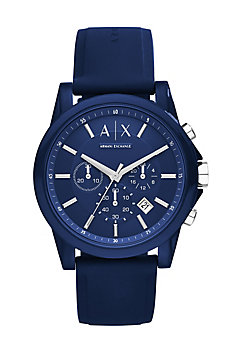Round Blue Chrono With Blue Silicone Strap