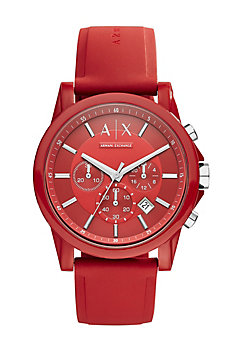 Round Red Chrono With Red Silicone Strap