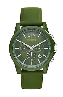 Round Army Green Chrono With Army Green Silicone Strap