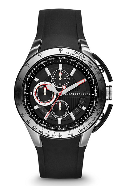 Round Chronograph Silicone Strap Watch