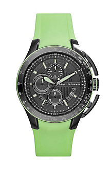 Green Rubber Strap Watch