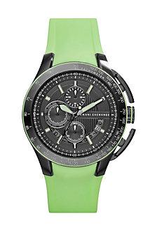 Green Rubber Strap Watch
